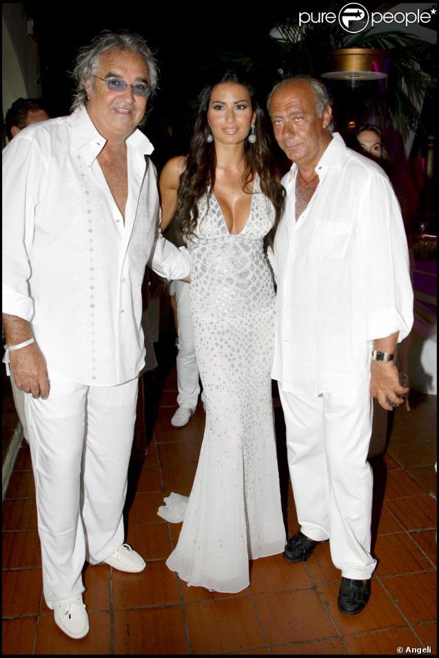 Flavio Briatore et sa femme Elisabetta Gregoraci au 57e anniversaire du joaillier Fawaz Gruosi, à Porto Cervo, en Sardaigne. 08/08/09