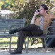"""Steve Carell et Rainn Wilson filment une scène pour la série """"The Office"""". Los Angeles. Le 20 août 2010. @PCN/ABACAPRESS.COM"""
