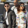 Exclusif - Nick Jonas et sa femme Priyanka Chopra se tiennent la main en arrivant à l'aéroport JFK à New York. Le 27 juillet 2019.