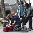 """Exclusif - Logan Williams en tournage pour la série """"The Flash"""" dans laquelle il incarnait Barry Allen (le vrai nom du super-héros, The Flash) enfant. Vancouver, le 10 avril 2014."""