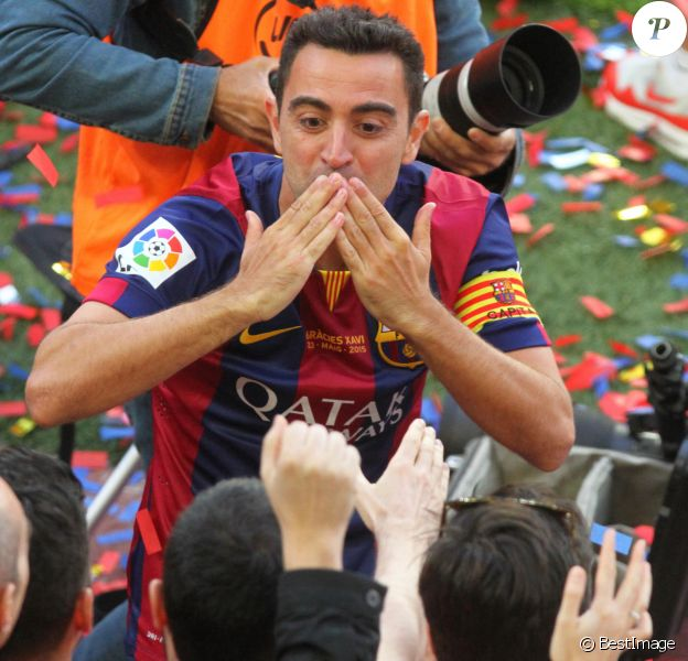 Xavi Hernandez fête le titre de champion d'Espagne du FC Barcelone. Barcelone, le 23 mai 2015.