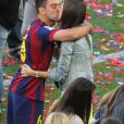 Xavi Hernandezet sa femme Nuria Cunillera - Les joueurs célèbrent leur victoire en famille du match de football La Liga contre Deportivo Coruna à Barcelone. Xavi Hernandez, capitaine du FC Barcelone, a annoncé son départ à la fin de la saison. Le 23 mai 2015
