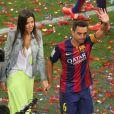 Xavi Hernandez et sa femme Nuria Cunillera - Les joueurs célèbrent leur victoire en famille du match de football La Liga contre Deportivo Coruna à Barcelone. Xavi Hernandez, capitaine du FC Barcelone, a annoncé son départ à la fin de la saison. Le 23 mai 2015