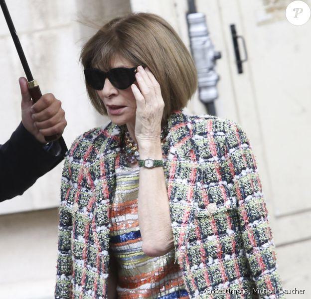 """Anna Wintour - Sorties du défilé de mode """"Chanel"""", collection PAP printemps-été 2020 au Grand Palais à Paris. Le 1er octobre 2019 © Michael Baucher / Panoramic / Bestimage"""