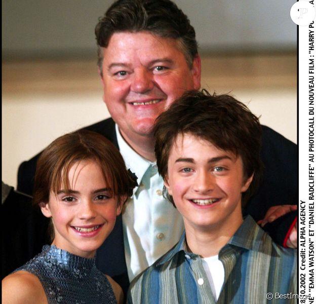 Robbie Coltrane, Emma Watson, Daniel Radcliffe et Rupert Grint, le 28 octobre 2002.
