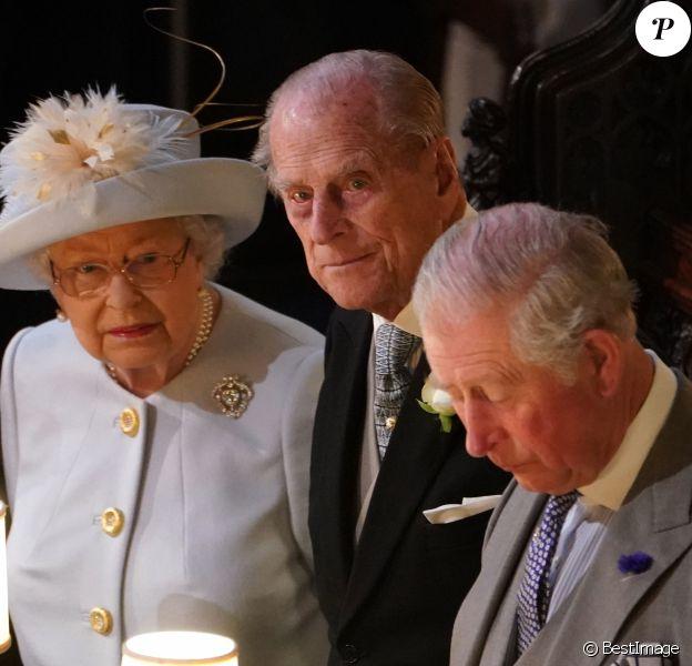 La reine Elisabeth II d'Angleterre, le prince Philip, duc d'Edimbourg, le prince Charles, prince de Galles - Cérémonie de mariage de la princesse Eugenie d'York et Jack Brooksbank en la chapelle Saint-George au château de Windsor le 12 octobre 2018.