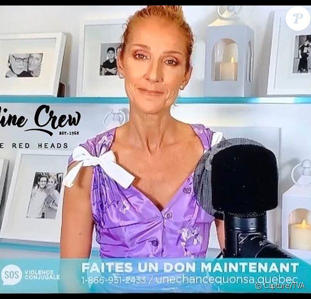 Céline Dion lors de l'émission Une chance qu'on s'a le 10 mai 2020 au Québec.