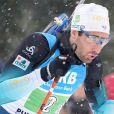 Martin Fourcade lors du relais de biathlon à Ruhpolding en Allemagne le 18 janvier 2020.