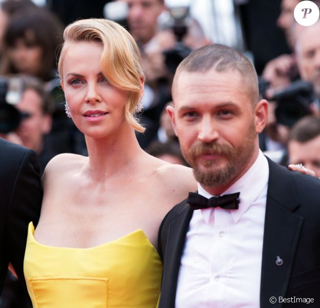 """Nicholas Hoult, Charlize Theron, Tom Hardy - Montée des marches du film """"Mad Max : Fury Road"""" lors du 68 ème Festival International du Film de Cannes, à Cannes le 14 mai 2015."""