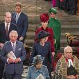 La reine Elizabeth II d'Angeleterre, le prince Charles et Camilla Parker-Bowles duchesse de Cornouailles, le prince William, duc de Cambridge, et Kate Catherine Middleton, duchesse de Cambridge, le prince Harry, duc de Sussex, Meghan Markle, duchesse de Sussex - La famille royale d'Angleterre lors de la cérémonie du Commonwealth en l'abbaye de Westminster à Londres. Le 9 mars 2020