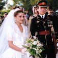 Rania de Jordanie le jour de son union avec le roi Abdullah de Jordanie en 1993
