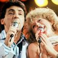 Archives - Peter et Sloane lors de la soirée pour le 1er anniversaire de Canal+. Paris. Le 14 juillet 1985.