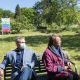"""Exclusif - Tom Schacht, Patrick Puydebat, Hélène Rolles - Reprise du tournage de la série """"Les Mystères de l'amour"""" à Cergy-Pontoise (Val d'Oise) après 2 mois d'arrêt dû au confinement en pleine épidémie de Coronavirus Covid-19 le 14 mai 2020."""