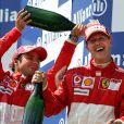 Felipe Massa et Michael Schumacher au Grand Prix de Magny-Cours en France. Juillet 2006.