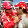 Felipe Massa et Michael Schumacher lors du Grand Prix du Brésil en octobre 2006.