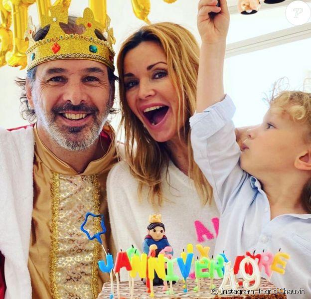 Ingrid Chauvin et son fils Tom célèbre l'anniversaire de Thierry Peythieu. Instagram. Le 1er mars 2020.
