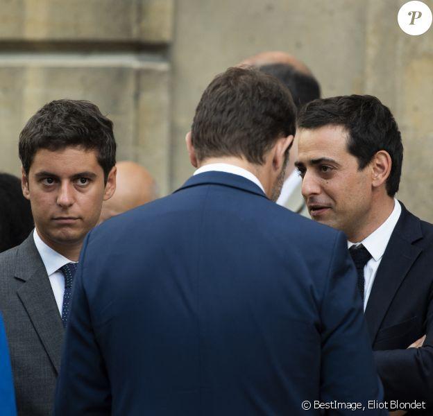 Christophe Castaner, ministre de l'Intérieur, Stéphane Séjourné et Gabriel Attal lors du discours aux armées d'Emmanuel Macron à l'Hôtel de Brienne, siège du ministère des Armées. Emmanuel Macron a annoncé la création d'un commandement de l'espace, qui sera créé à l'automne au sein de l'armée de l'Air. Paris, le 13 juillet 2019. Eliot Blondet/Pool/Bestimage