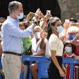 Le roi Felipe VI et la reine Letizia d'Espagne visitent la ville de Jaca et le monastère Saint-Jean de la Peña, le 8 juillet 2020.