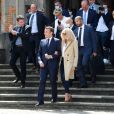 Sortie de la Mairie du Touquet - Le Président de la République Emmanuel Macron et sa femme la Première Dame Brigitte Macron sont allés voter à la Mairie du Touquet-Paris-Plage lors du second tour des élections municipales, le 28 juin 2020.