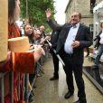 """Jean-Pierre Pernaut lors du tournage de l'émission """"Votre plus beau marché de France"""" à Montbrison le 14 juin 2019. © Frédéric Chambert / Panoramic / Bestimage 14/06/2019 - Montbrison"""
