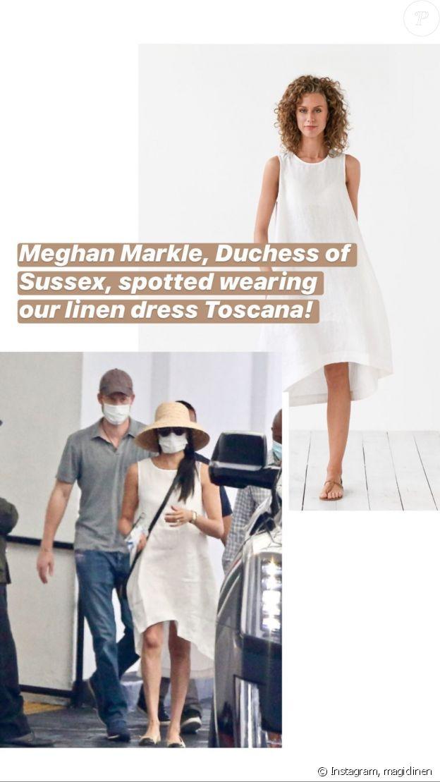 Meghan Markle à Beverly Hills le 10 juillet 2020, portant une robe Magic Linen.
