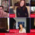 """Le casting de """"Desperate Housewives"""" : Eva Longoria, Vanessa Williams, Brenda Strong, Dana Delaney, Marcia Cross, Seth Rudetsky, James Wesley dans une vidéo de levée de fond contre l'épidémie de Coronavirus (Covid-19). Le 22 avril 2020."""