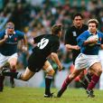 Christophe Dominici lors d'un match de l'équipe de France de rugby contre la Nouvelle-Zélande à Londres, en demi-finale de Coupe du monde, en 1999.