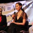 Ashley Judd lors d'une conférence sur les violences et la prostitution à Paris en 2018.