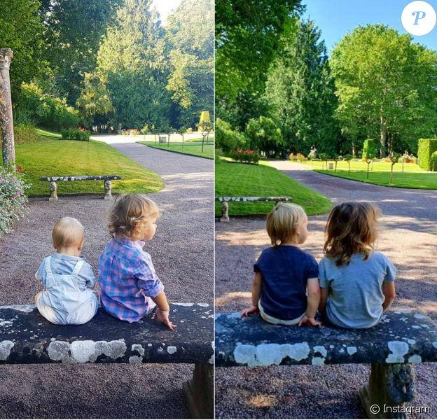 Le prince Gabriel et le prince Alexander de Suède, les deux enfants du prince Carl Philip et de la princesse Sofia, grandissent à vue d'oeil : la preuve avec le remake en juillet 2020 (à droite) de leur photo d'août 2018, à la Villa Solliden, à Borgholm.