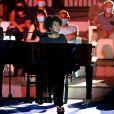 """Exclusif - Liz McComb, chanteuse, compositrice et pianiste américaine de gospel et de spirituals, durant le premier jour d'enregistrement de l'émission de télévision """"Nice Jazz Festival"""" au Théâtre de Verdure à Nice, le 24 juillet 2020. © Bruno Bebert/Bestimage"""