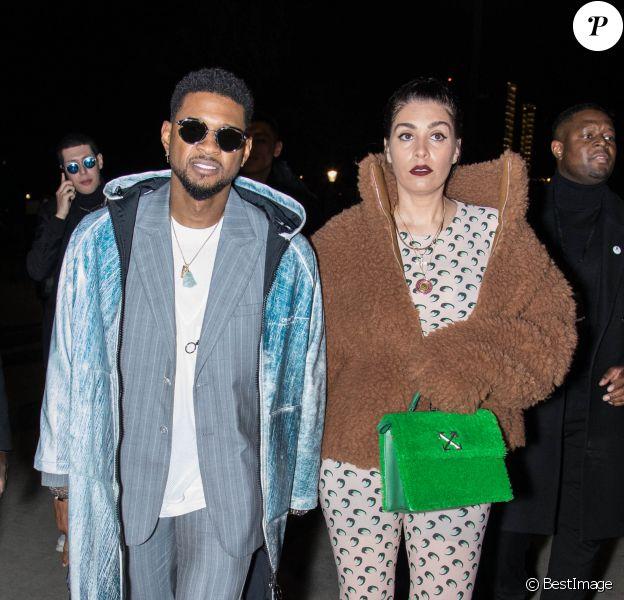 Usher et sa compagne Jenn Goicoechea à Paris, début 2020.