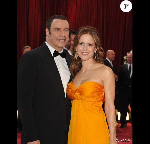 John Travolta et sa femme Kelly Preston lors des Oscars 2008