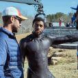 """Chadwick Boseman dans les coulisses du tournage du film """"Black Panther"""". Avril 2018."""