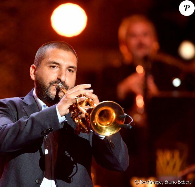 """Exclusif - Ibrahim Maalouf durant le premier jour d'enregistrement de l'émission de télévision """"Nice Jazz Festival"""" au Théâtre de Verdure à Nice © Bruno Bebert/Bestimage"""
