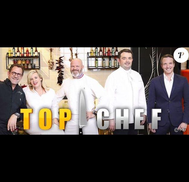 """Logo de """"Top Chef"""" avec Stéphane Rotenberg à l'animation et Hélène Darroze, Philippe Etchebest, Michel Sarran et Jean-François Piège."""