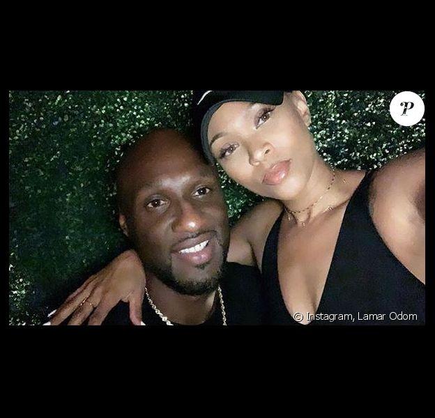 Lamar Odom et sa fiancée Sabrina Parr. Octobre 2019.