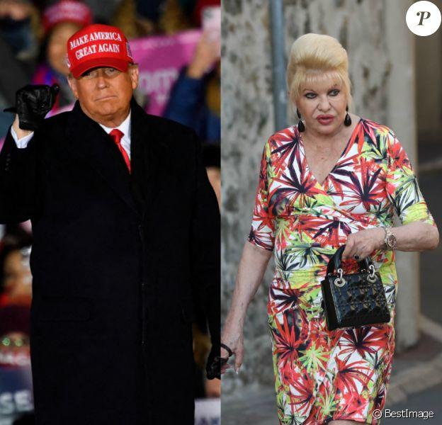 Donald Trump lors d'un meeting à Grand Rapids, novembre 2020 - Ivana Trump à Saint-Tropez.