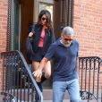 George Clooney et sa femme Amal Alamuddin Clooney sont à New York pour fêter leur 5ème anniversaire de mariage, le 27 septembre 2019.