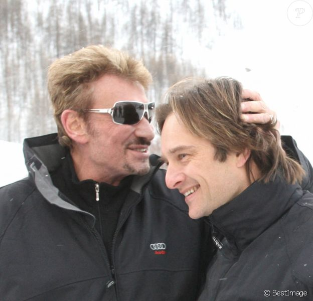 David et Johnny Hallyday au Val d'Isère.