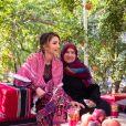 La reine Rania de Jordanie visite le village Kufrsoum dans le nord de la Jordanie, le 30 octobre 2019.