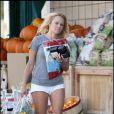 Pamela Anderson, ravissante au naturel, lors d'emplettes à Woodland Hills, en octobre 2009 !