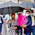 Exclusif - Laura Tenoudji Estrosi, son mari Christian Estrosi, le maire de Nice, et leur fille Bianca durant le 1er jour du Tour de France 2020 à Nice. Un tour de France placé sous des mesures sanitaires strictes en période de COVID-19. © Bruno Bebert / Bestimage