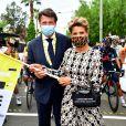 Christian Estrosi, le maire de Nice, et sa femme Laura Tenoudji Estrosi durant le 1er jour du Tour de France 2020 à Nice, le 29 août 2020. Un tour de France placé sous des mesures sanitaires strictes en période de COVID-19. © Bruno Bebert / Bestimage