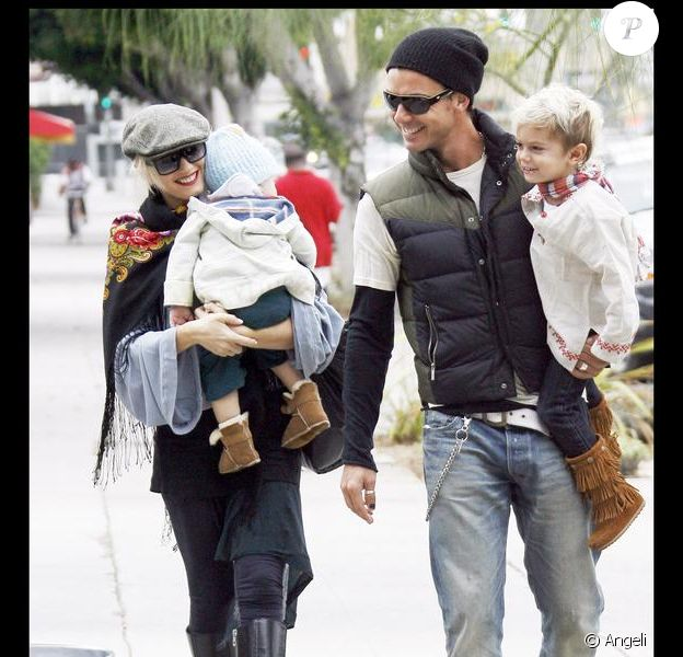 Gwen Stefani, son mari Gavin et ses fils à Hollywood le 11 octobre 2009