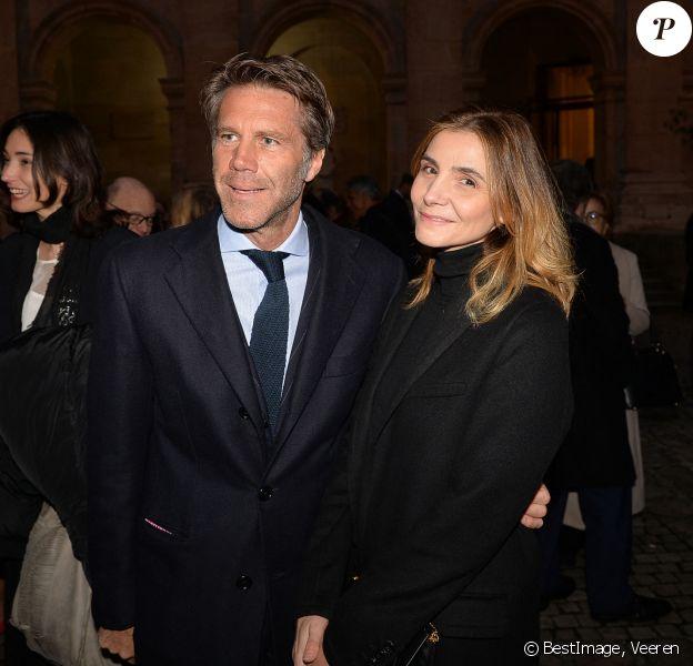 Le prince Emmanuel-Philibert de Savoie et sa femmme Clotilde Courau lors de la cérémonie d'installation de F.Mitterrand à l'académie des Beaux-Arts à Paris, France. © Veeren/Bestimage