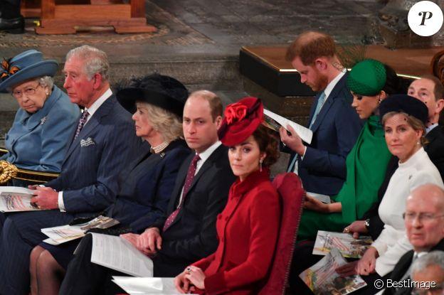 Le prince Edward, comte de Wessex, Sophie Rhys-Jones, comtesse de Wessex, Le prince William, duc de Cambridge, et Catherine (Kate) Middleton, duchesse de Cambridge, Le prince Charles, prince de Galles, et Camilla Parker Bowles, duchesse de Cornouailles, La reine Elisabeth II d'Angleterre, Le prince Harry, duc de Sussex, Meghan Markle, duchesse de Sussex - La famille royale d'Angleterre lors de la cérémonie du Commonwealth en l'abbaye de Westminster à Londres le 9 mars 2020.
