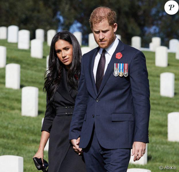 Le prince Harry et Meghan Markle lors d'une visite privée du cimetière national de Los Angeles. Photo by Lee Morgan/PA Photos