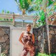 Christina Milian, enceinte et en vacances à l'île Maurice. Décembre 2020.