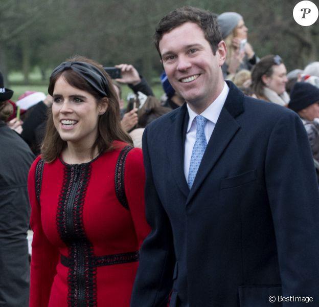 La princesse Eugénie d'York et son mari Jack Brooksbank - La famille royale britannique se rend à la messe de Noël à l'église Sainte-Marie-Madeleine à Sandringham.