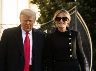 Melania Trump souriante et en noir pour quitter la Maison Blanche